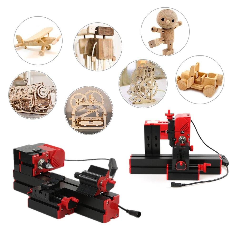 Mini 6 en 1 tour machine multi-fonctionnel bricolage motorisé scie sauteuse perceuse Miller tour à métal tour à bois Machine-outil Kit