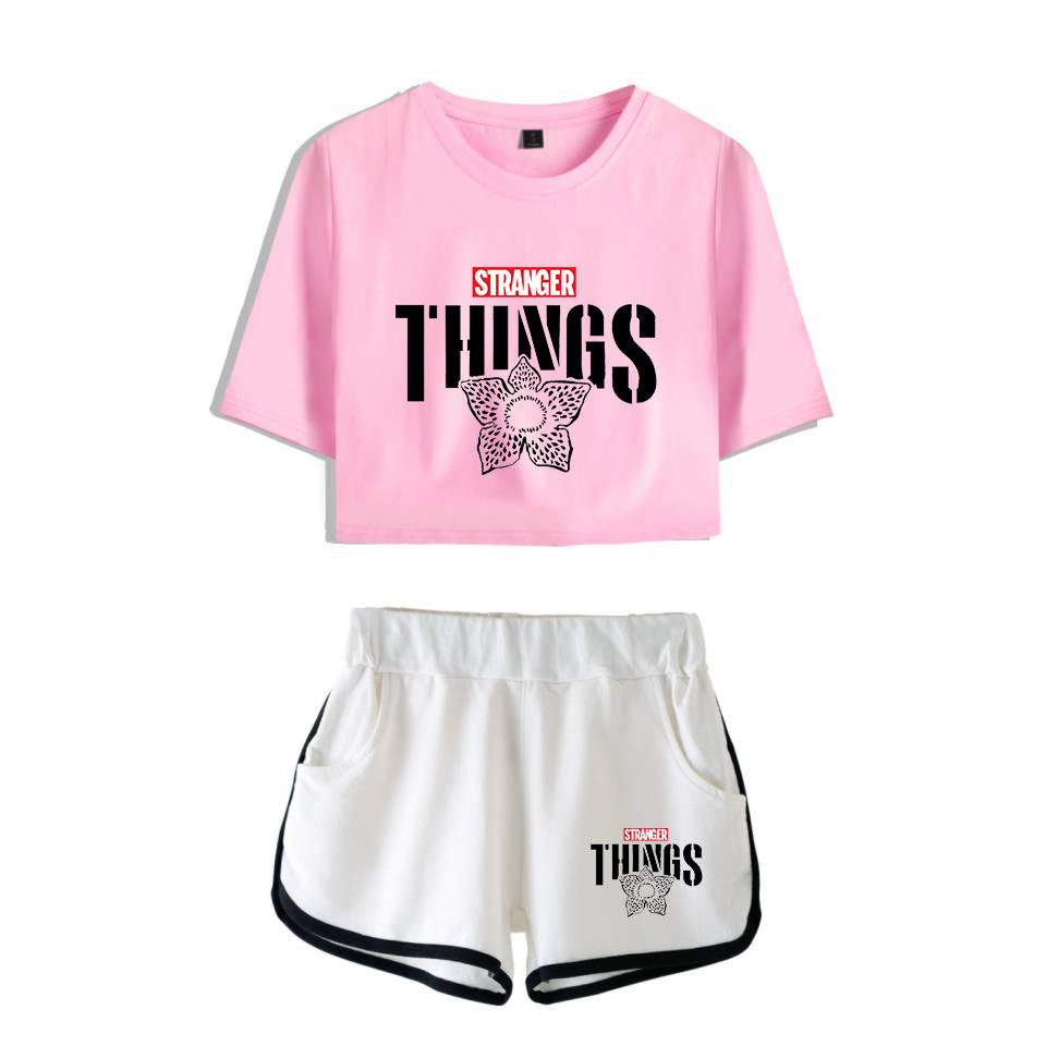Stranger Things Season 3 Two-piece Set Tracksuit For Women Comfy Casual Sets Stranger Things Shorts Short Sleeve Sexy Fashion