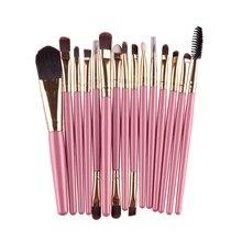 15 Pcs Professional Cosmetic Makeup Brush Women Foundation Eyeshadow Eyeliner Lip Make Up Eye Brushes Set 4 Colors