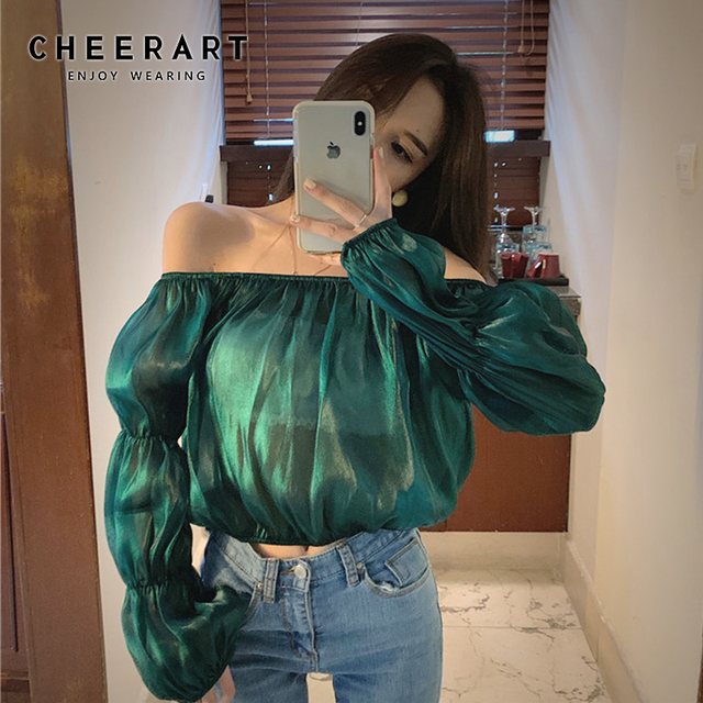 e262cf464c177 Cheerart Sheer Top Long Sleeve Off Shoulder Top Puff Sleeve Crop Top Green  Blouse Women Slash Neck Blouse Glitter