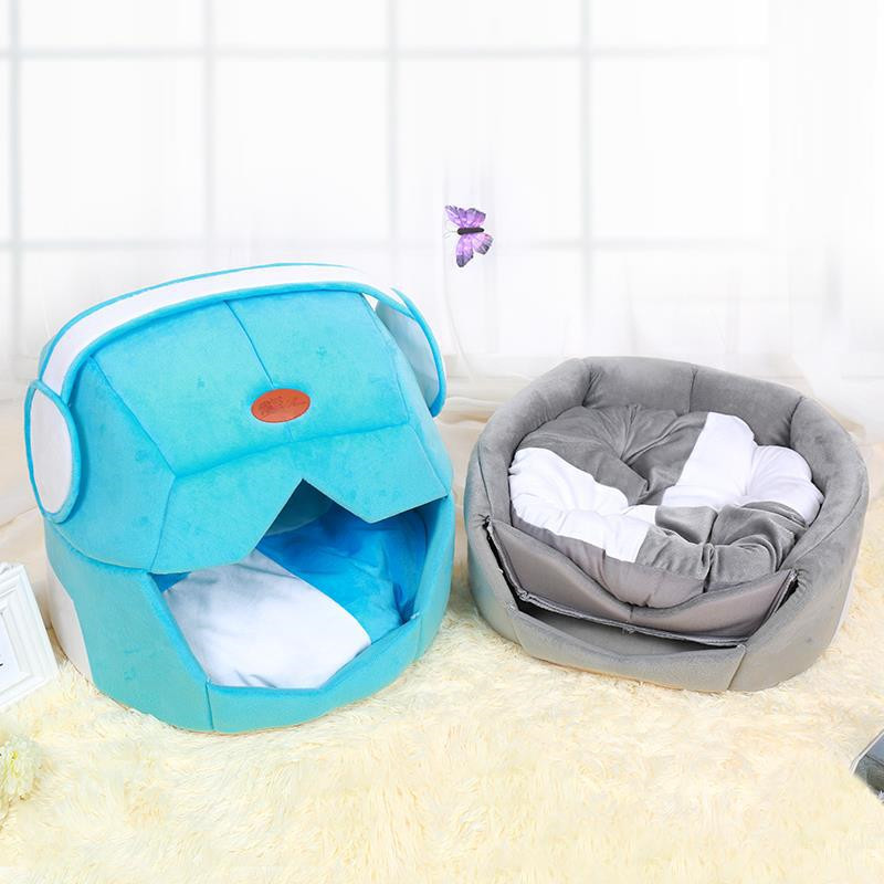 New Winter Warm Fleece Pet Cat Sleeping Bags Space Cap Is Creative and Breathable Bed with Cushion Pet Rabbit Hamster House