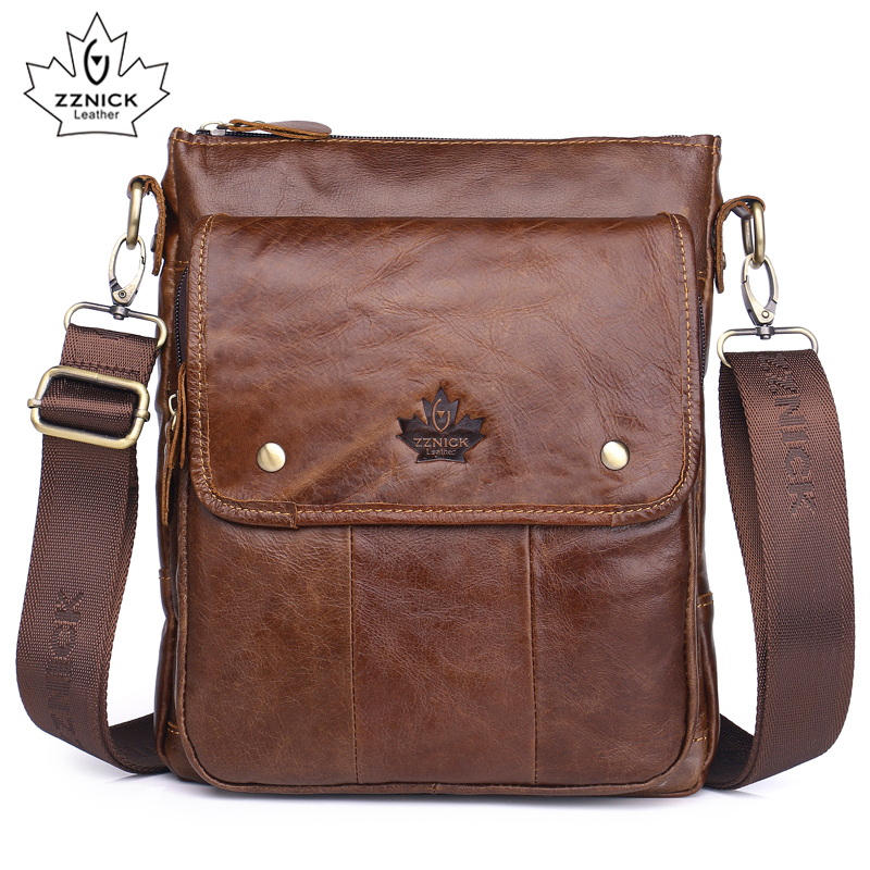 Men's Genuine Leather Shoulder Bag Messenger Bag Flap Ipad Men Bag Style Bag Solid Male Business 2018 New ZZNICK
