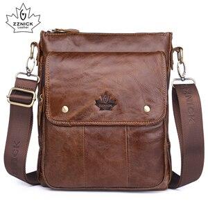 Image 1 - mens genuine leather shoulder bag Messenger Bag Flap ipad men bag style bag Solid male Business 2018 new ZZNICK