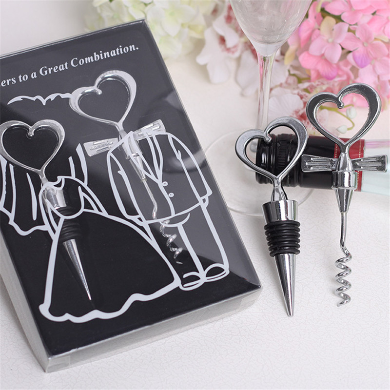 Small Wedding Gifts: Creative Heart Shaped Wine Bottle Opener For Return