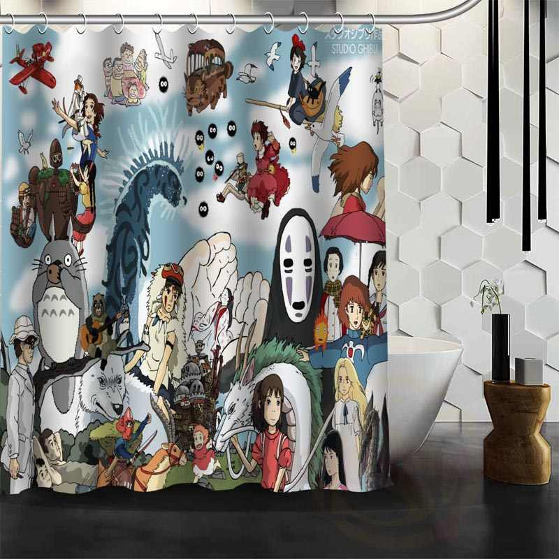 Japan Decorative Shower Curtain Set Non-Slip Bathroom Totoro Mats Best Hot Fast Ship Custom Design Doormat Freeship Anime