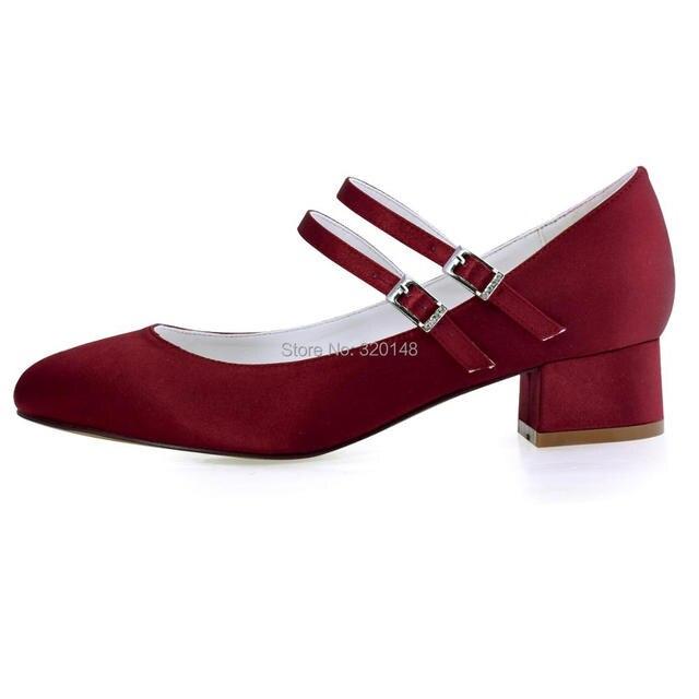 FC1615 Shoes Woman Dark Red Plus Size 12 Block heel Mary Jane Comfort Heel Satin Bride Lady Wedding Bridal Evening Pumps White 4