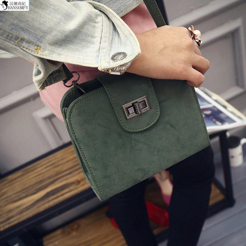 HANSOMFY  2015 Autumn Winter New Korean Minimalist Retro Frosted Mini Handbag Shoulder Bag Small Satchel