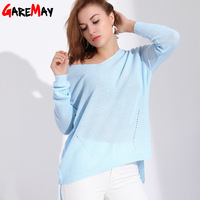 Garemay Women Sweaters And Pullovers Long Knitted Female Sweater V Neck Knitwear Long Sleeve Jersey Off