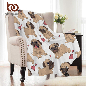 BeddingOutlet Hippie Pug Flannel Blanket Animal Cartoon Coral Fleece Blanket for Kids Beds Sofa Throws Bulldog Coverlet 150x200 1
