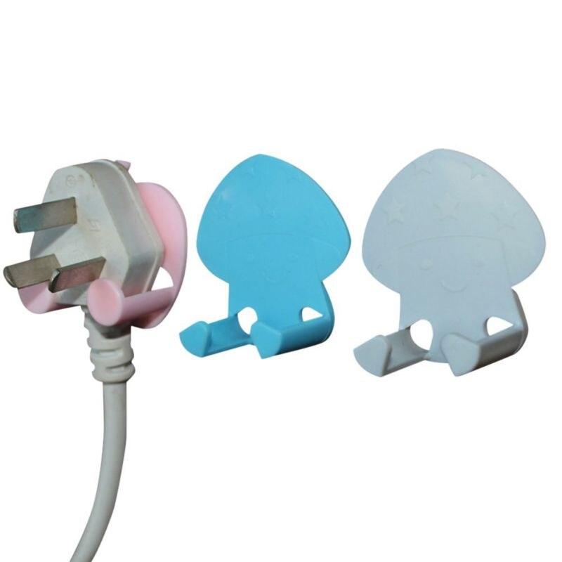 1Pcs Plug Hook Socket Wire Nail Bracket Storage Hook Plastic Seamless Power Holder M