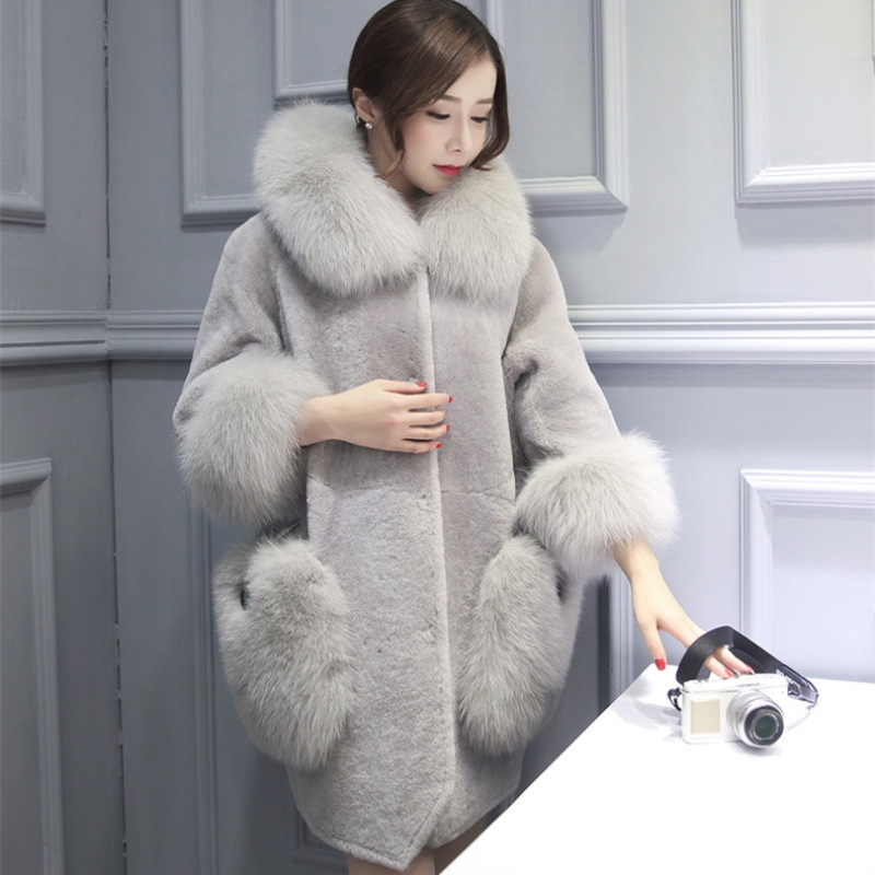 Di alta Qualità Caldo Ultime Inverno Femminile Cappotti di pelle di Pecora di Colore Puro Colli di Volpe della pelliccia Del Faux Pellicce Grandi Cantieri Cappotto di Cachemire PC007