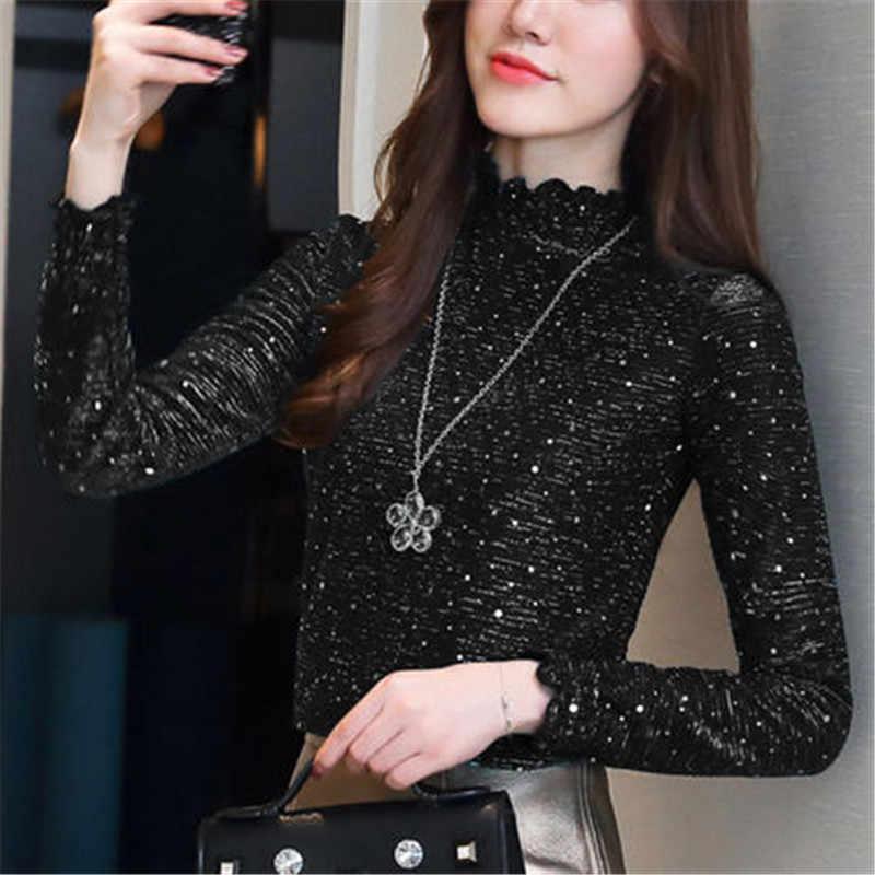2019 Venta caliente más blusas de terciopelo para mujer de invierno con volantes de manga larga para Mujer Tops blusa de talla grande ropa de mujer PZ1343