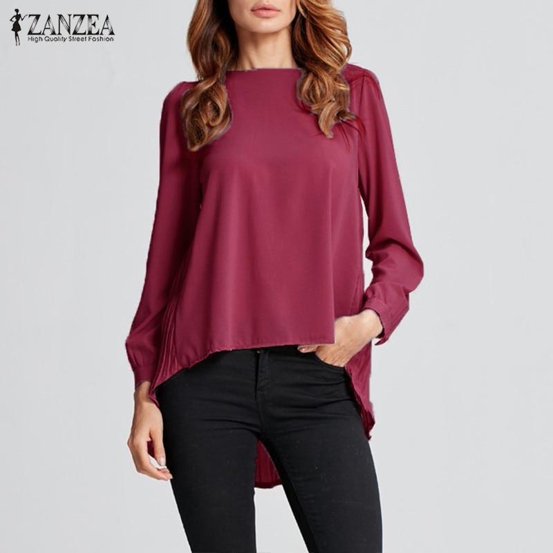 ZANZEA Autumn Summer Chiffon Blouse Women's Tops 2019 Office Pleated Work Blusas Blusas Tunic Long Sleeve Shirts Plus Size 5XL