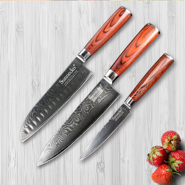 SUNNECKO Premium Utility Santoku Chef Knife Japan VG10 Damascus Steel Pakka  Wood Handle 3PCS Kitchen Knives