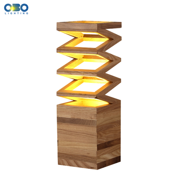 Modern Wood Spring Shape Table Lamp Simple Study Desk Light Room Bedroom Bedside Decoration