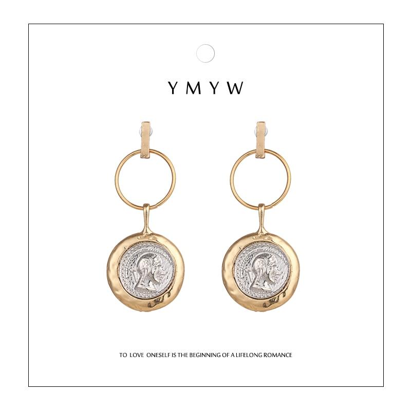 YMYW Vintage Trendy Round Geometric Pendant Drop Earrings Symmetrica Coin Charms Gift Boucles D'oreille Pour Les Femmes Party