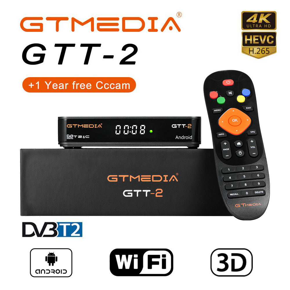GTMEDIA GTT2 Smart TV BOX DVB-T2/C/ISDBT/H.265 France 2G 8G Android 6.0 Built in WiFi Google support IPTV cccam Android TV BOX(China)