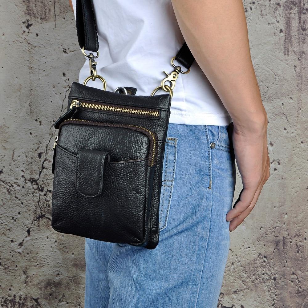 Original Leather Men Casual Fashion Mochila Crossbody Messenger Bag Designer Male Waist Belt Pack Phone Tablet Case Pouch 6549-b