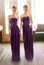 2015 Purple Bridesmaid Dresses Draped Sweetheart Backless Empire Sheath Ruffles Floor Length Chiffon Wedding Party