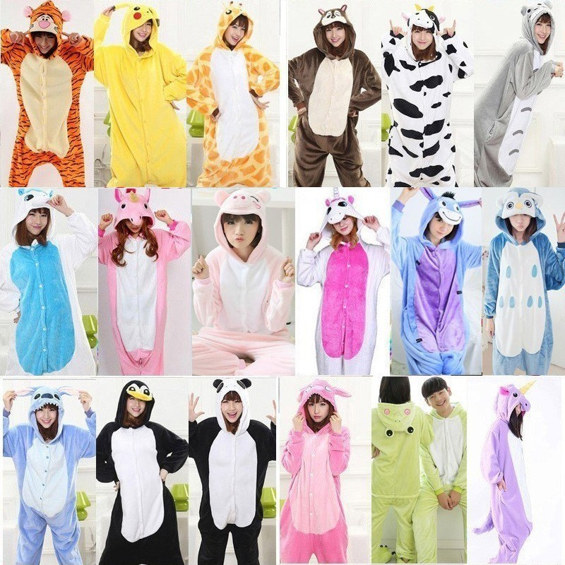 men Winter Flannel Cartoon Animal   Pajamas   for Adults Unisex Cosplay Hood Onesies Panda Stitch Sleepwear unicornio   Pajama     Set
