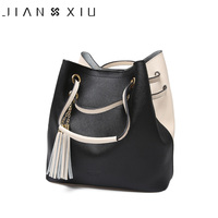 JIANXIU Brand Genuine Leather Shoulder Bags Spell Color Detachable Liner Bucket Bag Tassel Luxury Handbag Women