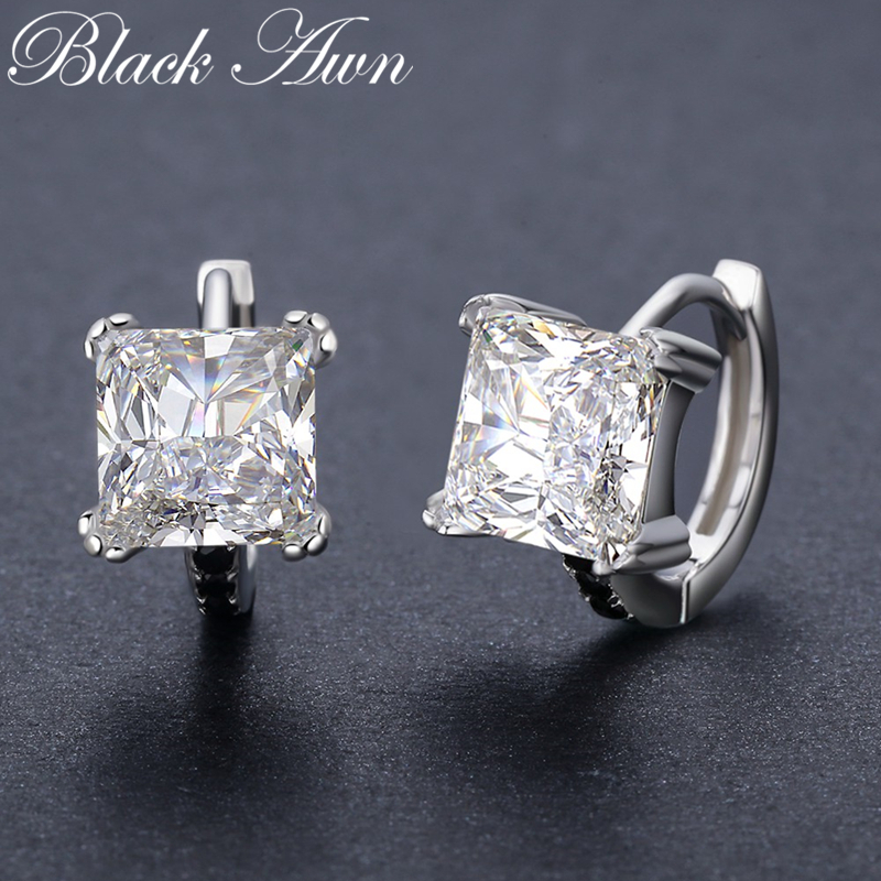 Classic 5.3g 925 Sterling Silver Square Black Spinel Trendy Engagement Hoop Earrings for Women Fine Jewelry BijouxT200