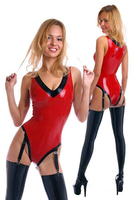 Fashion Women Latex Catsuit with Garter Stockings Sexy V shape Neck Rubber Tops Fetish latex Clothing Suit Club Wear