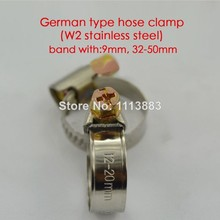 Band width 9mm German type W2 stainless steel hose tube pipe clamps clips(32-50mm)