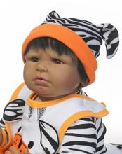 22″ 55cm Lifelike Reborn Black Boy Dolls Silicone Vinyl Handmade Sweater Baby Gift