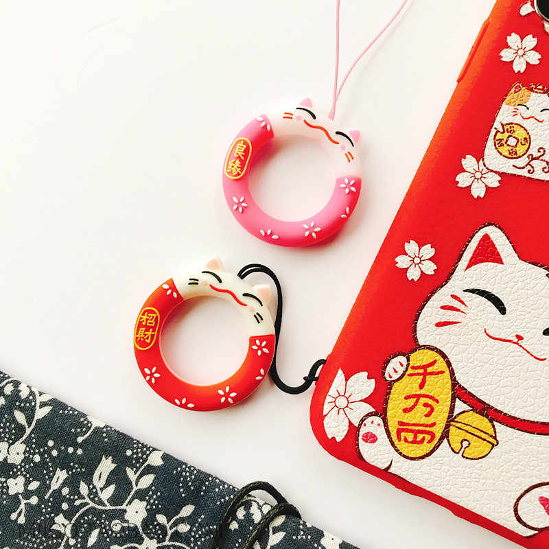 Kawaii Silicone Cat Lanyard for Keys Mobile Phone Charm Straps for iPhone Samsung Huawei Cute Cartoon Finger Ring Pendant