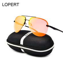 LOPERT Fashion Aviator HD Polarized Sunglasses Men Driving HD Glasses Brand Designer Male High Guality Sun Glasses For Men UV400