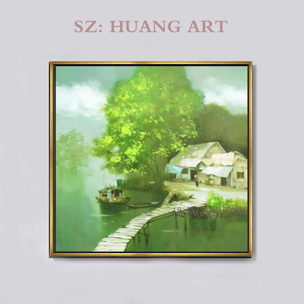 Rural oil painting scenery famous Vietnam original green landscape painting artists huts modern style restaurant adornment bedro