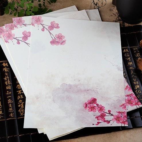 8 Pcs/lot Vintage Chinese Style Envelope Paper Lovely Flower Letter Paper For Kids Korean Stationery