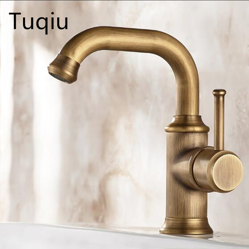 Robinets de bassin couleur Antique laiton grue robinets de salle de bain eau chaude et froide mélangeur robinet mitigeur contemporain robinet évier robinet