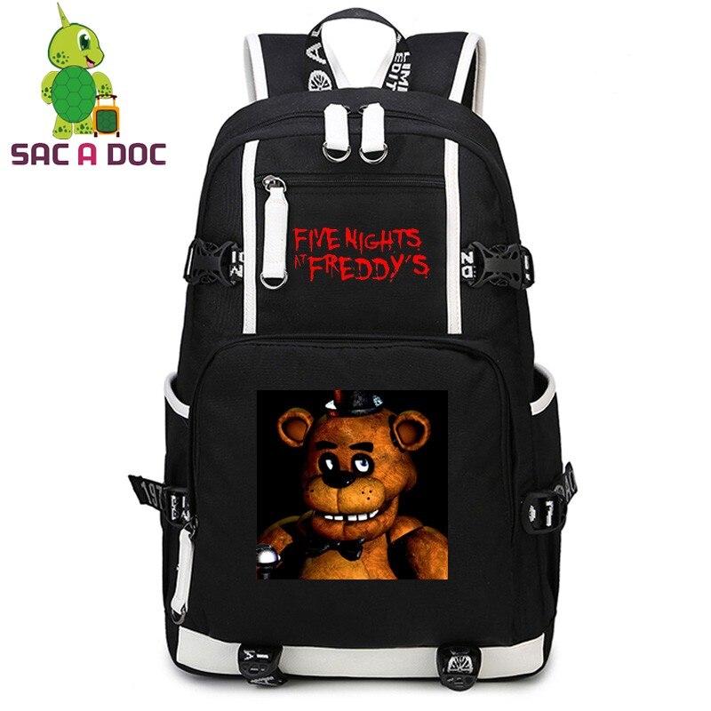 Cinq nuits à Freddy's impression toile sac à dos à bandoulière femmes hommes sac de voyage adolescents étudiant sac d'école sac à dos pour ordinateur portable