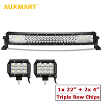 AUXMART 22 Combo Triple Row LED Light Bar Slim Curved 324W + 2pcs Offroad 4 Spot/Flood Driving Light for Truck Pickup SUV 4X4