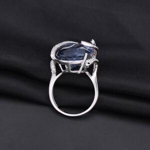 Image 4 - GEMS bale 17.8Ct doğal Iolite mavi mistik kuvars taş yüzük 925 ayar gümüş kokteyl yüzüğü kadınlar için güzel takı