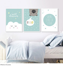Bear Sweet Dreams Baby Room Decor Stars Nursery Nordic Poster Posters Hello Wall Art Canvas Painting Cartoon Picture Unframed