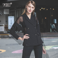 VGH Black Blazer For Women Female Coats Lantern Sleeve Long Sleeve Perspective Mesh Plus Size Coat Slim Korean 2018 Fashion New