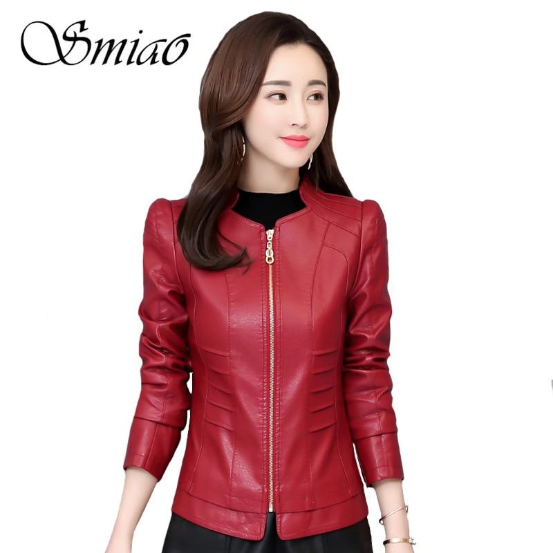 2019 Fashion Autumn Winter Women Soft Faux   Leather   Jackets Ladies Elegant Zippers Pu   Leather   Coat Female Outerwear Plus Size 4XL