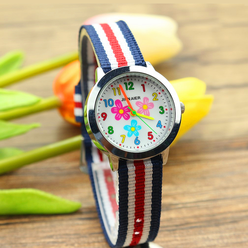 Продвижение дети прекрасный цветок нейлон платье подарок наручные часы для девочек мода нейлон красочные часы Linda Чика Reloj