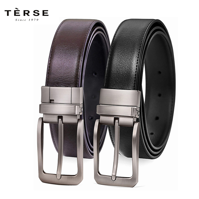 TERSE Men`s Reversible Belt For Men Dress of One-Piece Grain Leather 1 3/4, Cut to fit , R001 R002 R003
