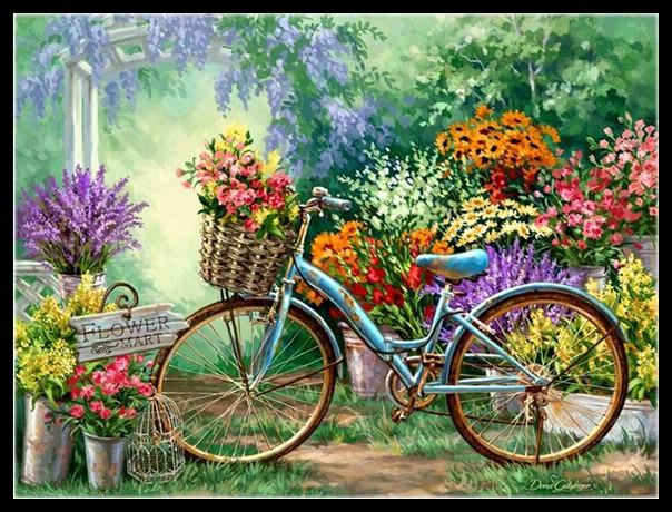 DIY diamant peinture mosaïque peinture à l\'huile jardin vélo 5D ...