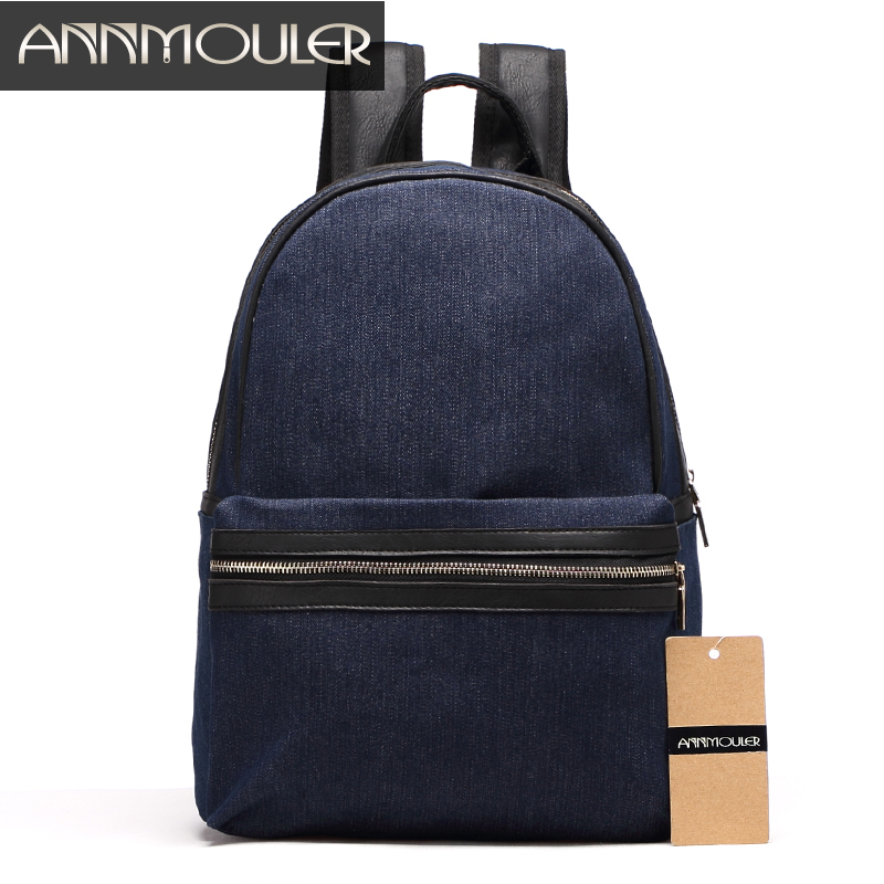Annmouler Famous Brand Women's Backpack High Quality Casual Daypack Laptop Backpacks Blue Denim Rucksack School Bag for Girls all seasons famous brand jeans men straight denim classic blue jeans pants regular fit high quality plus size 28 to 40 sulee