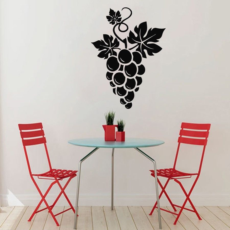 Wall Decals Grapes Floral Design Kitchen Vinyl Sticker Murals Wall