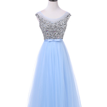 FADISTEE New arrival luxury long style dresses bling beading tulle evening dresses prom party crystal pearls floor length 4