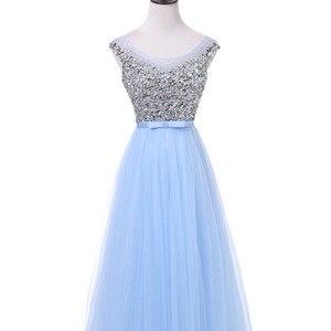 Image 4 - FADISTEE 새로운 도착 럭셔리 긴 스타일 드레스 블링 구슬 장식 tulle 이브닝 드레스 파티 파티 크리스탈 진주 바닥 길이