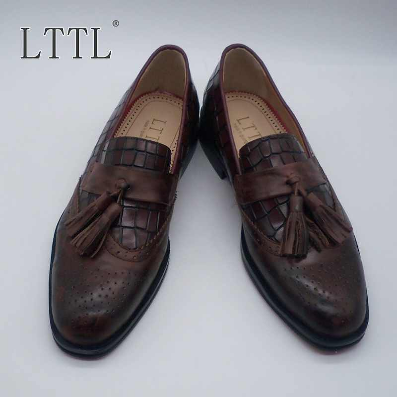 a885e5c3e7 LTTL Brown Tassel Loafers Men High Quality Casual Shoes Do Old Breathable  Men Shoes Party Dress Man Shoes zapatos hombre