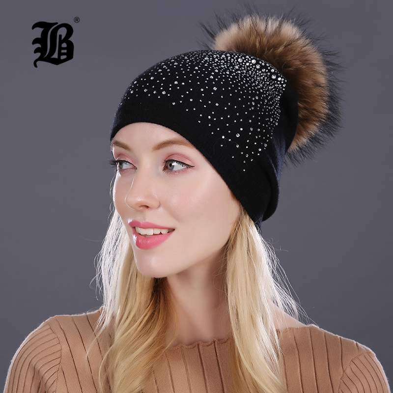 [FLB] Women Winter Beanie Hat Rabbit Fur Wool Knitted Hat The Female Of The Mink Pom Pom Shining Rhinestone Hats for women women s winter beanie hat wool knitted cap shining rhinestone beanie mink fur pompom hats for women