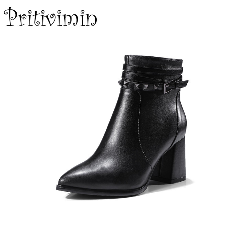 2018 New autumn ladies high quality shoes woman black genuine leather thick low heel pointed toe rivet boots Pritivimin FN103
